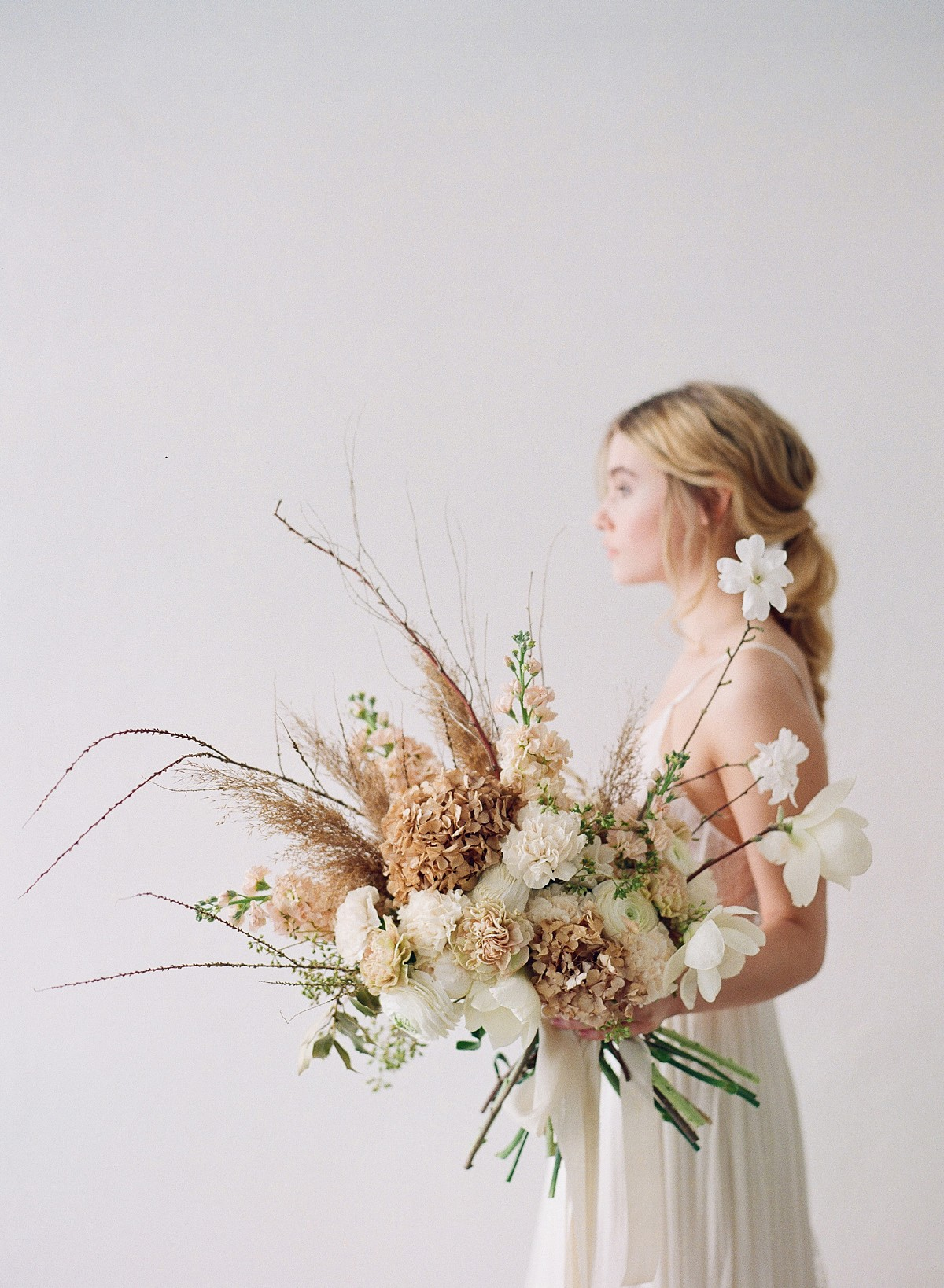 Dried flowers in wedding bouquets