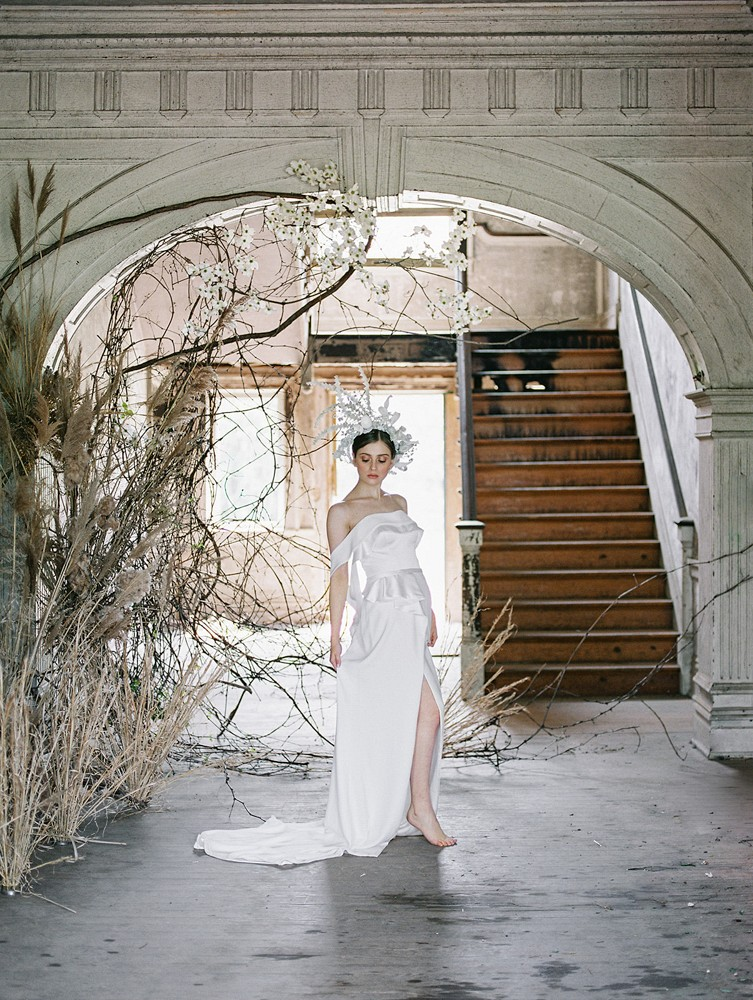 Avant Garde Bridal Style in an Abandoned Estate