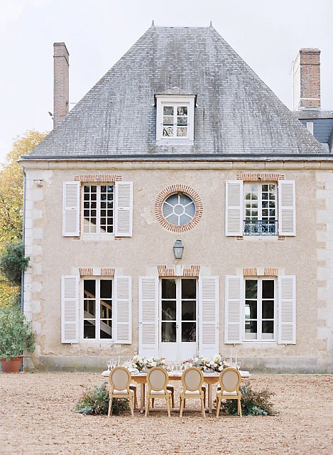 French Chateau Wedding Style with Outdoor Ceremony