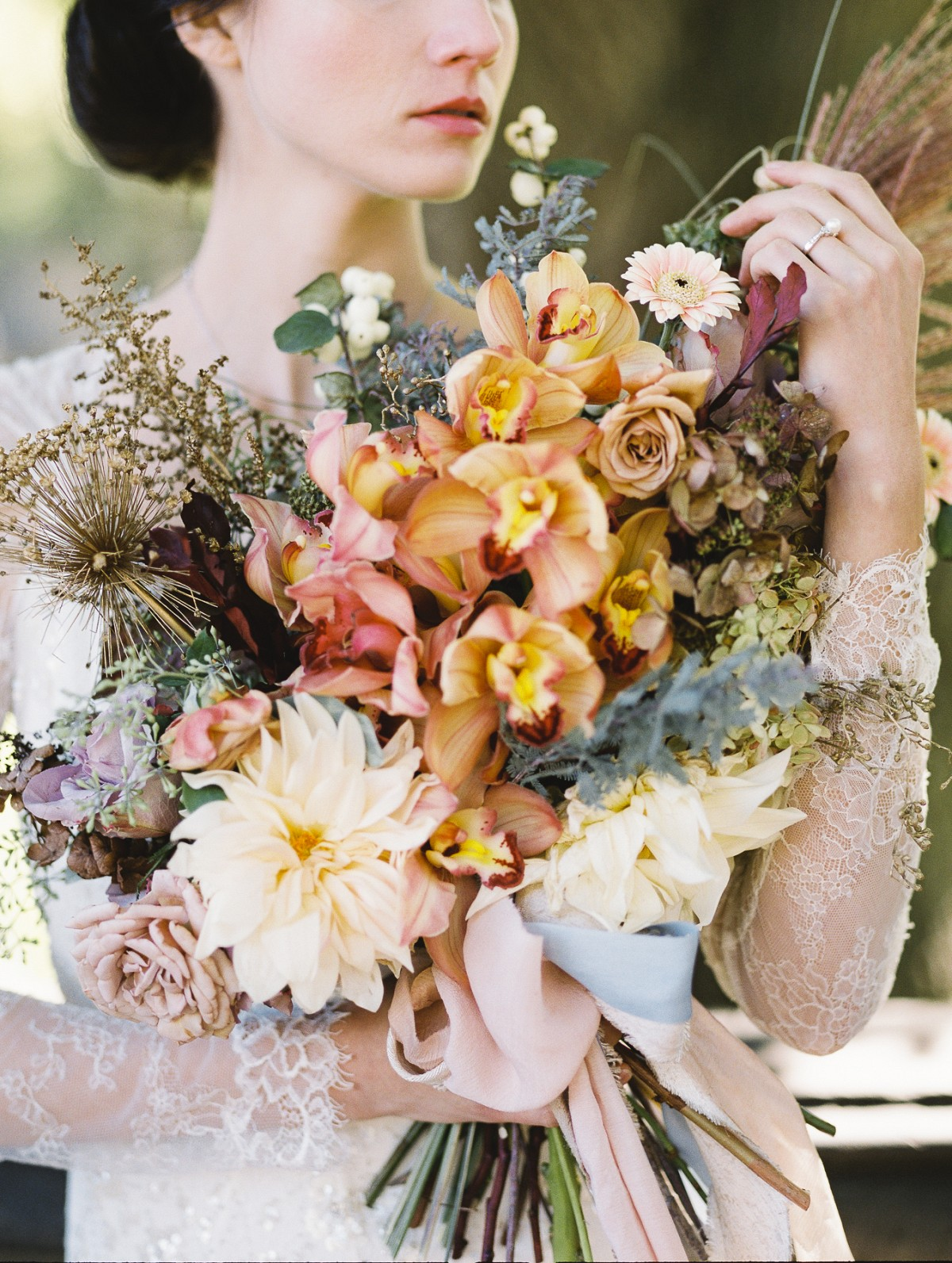 Apricot, Taupe, and Sage Bridal Bouquet