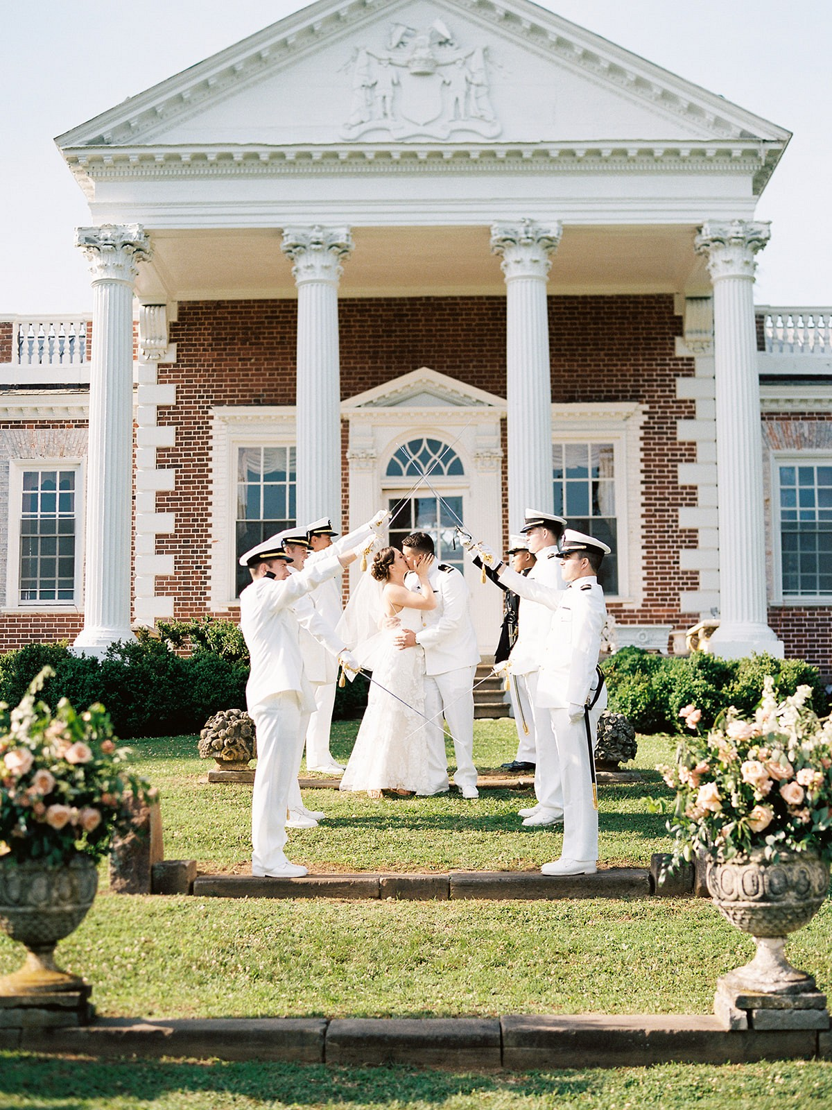 Classic Estate Wedding with Naval Sword Arch