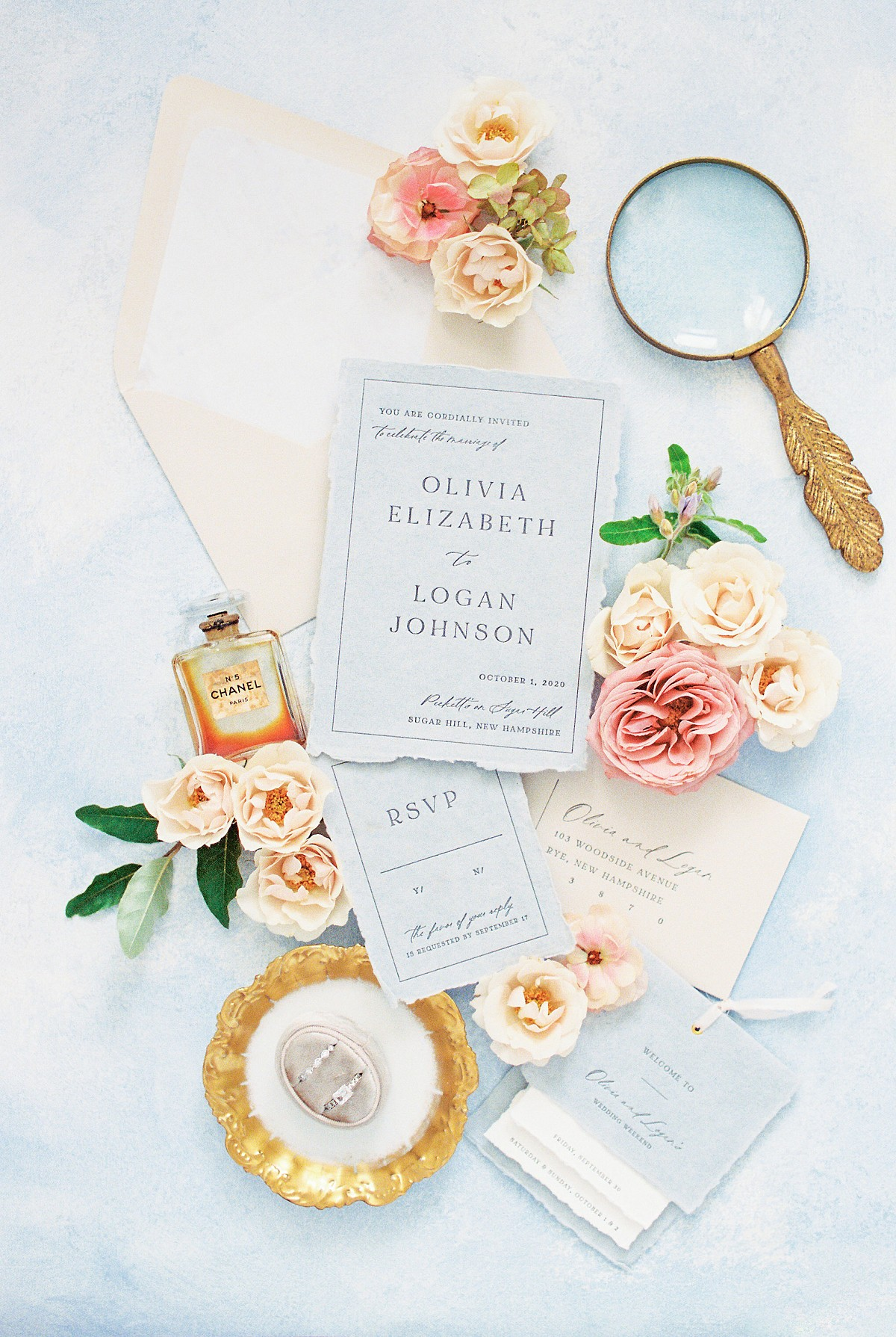 New Hampshire Elopement with Soft Pink & Mustard Details
