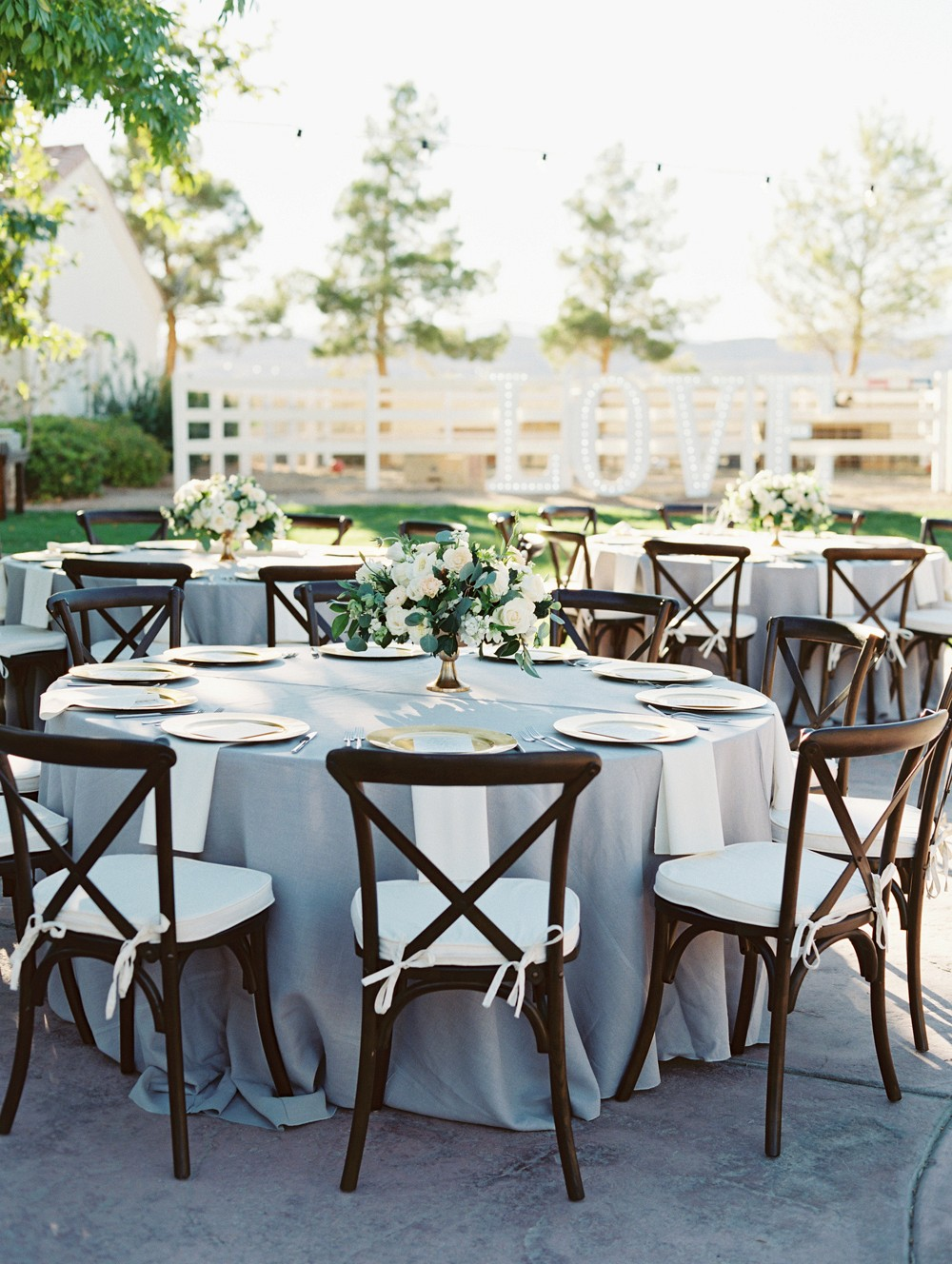 An Elegant Neutral Grey and Blue Ranch Wedding