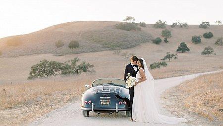 Soft blush fall editorial at Kestrel Park with 1958 Porsche Speedster