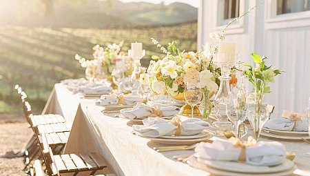 Gold & Ochre Florals at a Vineyard Wedding