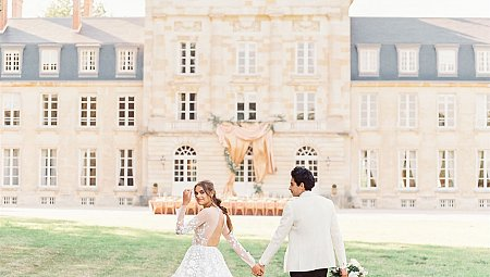 Epic Chateau Wedding Style with Draped Outdoor Ceremony