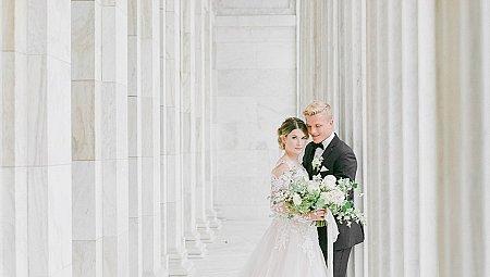 Black Tie Art Museum Wedding Style with Pronovias Gown