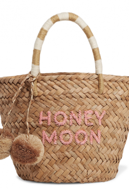 Honeymoon embriodered straw tote bag