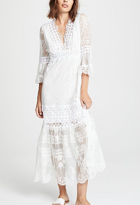Breezy Boho White Lace Dress